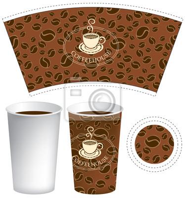 Plakat wzór na filiżankę kawy z teksturą ziarna