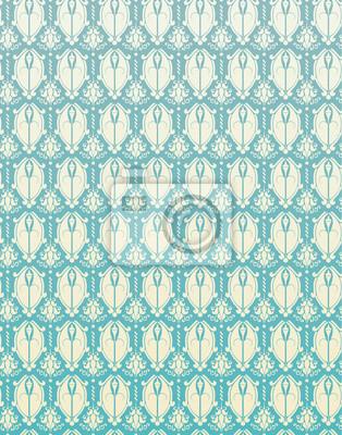 Plakat Wzór Niebieski bez szwu adamaszku Kwiat Tła Retro