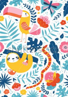 Plakat Wzór roślinny z zwierzęcymi charakterami, pieprzojad, opieszałość, wąż, motyl