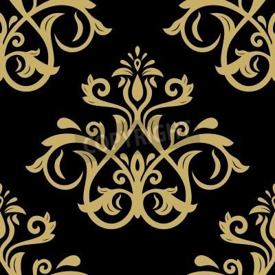 Plakat Wzór w stylu baroku. Wektor bez szwu tła. Adamaszku tekstury z złote orientu i elementy kwiatu