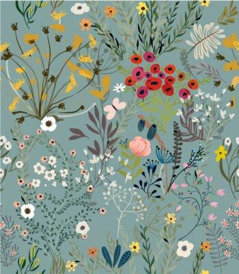 Plakat wzór z doodle kwiatów