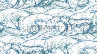 Plakat Wzór z ręcznie rysowane fale morskie w stylu szkicu. Wektorowy niekończący się tło w błękitnych kolorach.