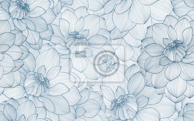 Plakat Wzór z ręcznie rysowane kwiaty dalii.
