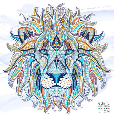 Plakat Wzorzyste głowa lwa na tle grunge. Afrykański / indian design / totem / tatuaż. Może być stosowany do projektowania t-shirt, torby, pocztówka, plakat i tak dalej.