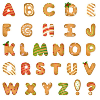 Plakat Xmas Gingerbread Cookie Alfabet