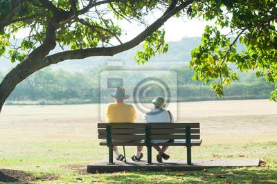 Plakat 公園 の ベ ン チ に 座 っ て い る 老 夫婦