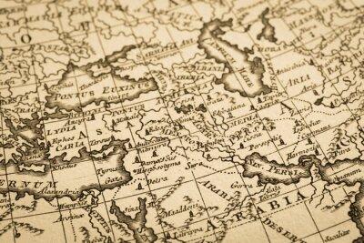 Plakat ア ン テ ィ ー ク の 世界 地 図 中東 地域