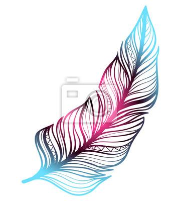 Красивое цветное перо. Писательское перо - эскиз татуировки, красочный арт