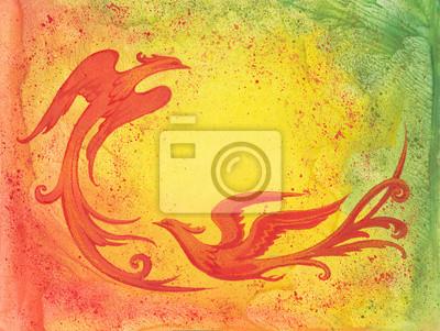Plakat Декоративный фон с красными птицами.