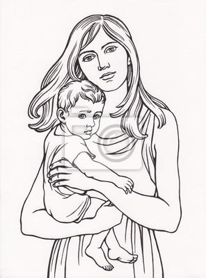 Plakat Женщина с ребёнком, линейный рисунок.