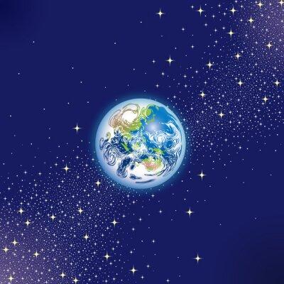 Plakat 星空 に 浮 か ぶ 地球