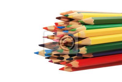 Plakat куча из деревянных цветных карандашей