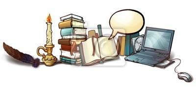 стопка книг, ноутбук, перо, свеча