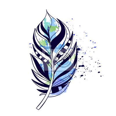 Эскиз татуировки цветное перо