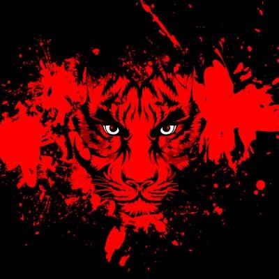 Plakat тигр на ярком фоне