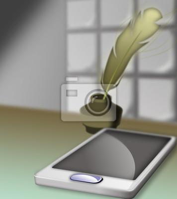 Смартфон и перо
