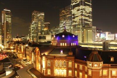 Plakat 東京 駅 夜景