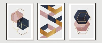 Plakat Abstract Math art background vector. Modern block color art wallpaper. Geometric marbling gold style texture. Cubism slow-poly backgrounds. Good for home deco, wall art, poster, invite and cover.
