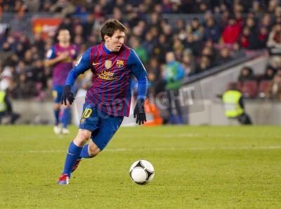 Plakat BARCELONA - Lionel Messi w akcji podczas meczu Pucharu Hiszpanii pomiędzy FC Barcelona i Valencia CF, końcowy wynik 2-0, w stadionu Camp Nou, Barcelona, Hiszpania