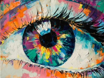"""Plakat """"Fluorite"""" - oil painting. Conceptual abstract picture of the eye. Oil painting in colorful colors. Conceptual abstract closeup of an oil painting and palette knife on canvas."""