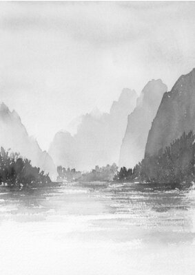 Plakat 山と湖の風景 水墨画 山水画 モノクロ