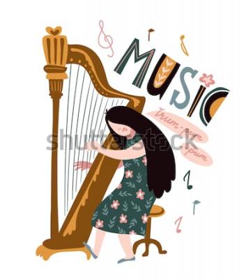 """Plakat Śpiewająca dziewczyna z harfą i napisem - """"Muzyka"""". Ilustracja wektorowa na festiwal muzyczny. Jasny projekt plakatu z harfistą."""