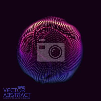 Plakat Wektorowa abstrakcjonistyczna sfera cząsteczki, punkt tablica. Futurystyczny ilustracji wektorowych. Technologia cyfrowa plusk lub eksplozja punktów danych. Kształt fali sferycznej. Cyber UI lub ele