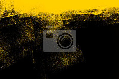 Plakat yellow and black paint  background texture with brush strokes