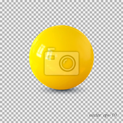 Plakat Yellow realistic ball vector .Isolated sphere for advertising and lettering.