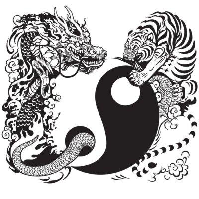 Plakat Yin Yang z smoka i tygrysa