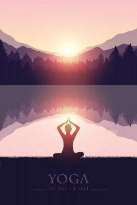 Plakat yoga for body and soul meditating person silhouette by the lake with mountain landscape vector illustration EPS10