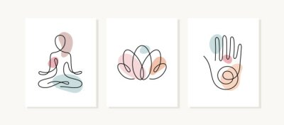 Plakat Yoga posters. One line vector illustration. Lotus position, lotus flower and hand, spiritual sign.