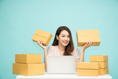 Plakat Young asian woman startup small business freelance holding parcel box and computer laptop and sitting isolated on green background, Online marketing packing box delivery concept