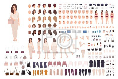 Plakat Young fashionable woman creation kit or DIY set. Bundle of body parts, gestures, clothes. Trendy street style outfit. Female cartoon character. Front, side, back views. Flat vector illustration.