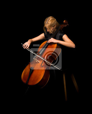 Plakat Young girl playing the cello on isolated black background