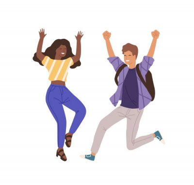 Plakat Young happy people jumping flat vector illustration. Man and woman raising hands characters. Successful collaboration, teamwork isolated on white background. Achievement, success, win gesture.