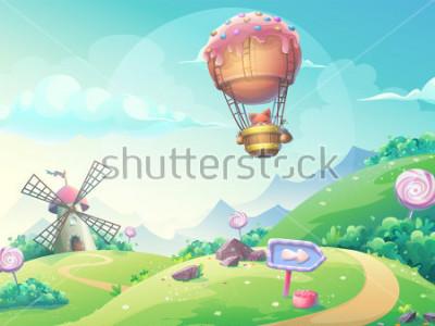Plakat Z ilustracja krajobraz z marmoladowym cukierkiem młynem i lisem w sterowniku. Zrób to, co jest dostępne na stronie internetowej, interfejsu użytkownika, karty, plakatu.