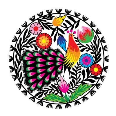 Plakat Z kwiatami wzór ludowy i pawiem, łowicki