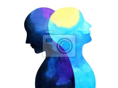 Plakat zaburzenia afektywne dwubiegunowe umysł zdrowie psychiczne połączenie akwarela malarstwo ilustracja ręka rysunek projekt symbol