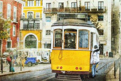 Plakat zabytkowe tramwaje w Lizbonie. Retro obraz
