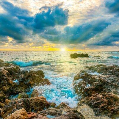 Plakat Zachód słońca na plaży