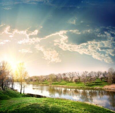 Plakat Zachód słońca nad rzeką
