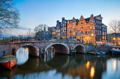 Plakat Zachód słońca w Amsterdamie, Holandia