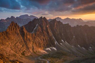 Plakat Zachód słońca widoczny z Lodowej Przełęczy, Wysokie Tatry.