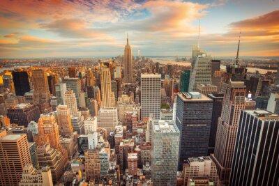 Plakat Zachód słońca widok z Nowego Jorku patrząc na Manhattanie