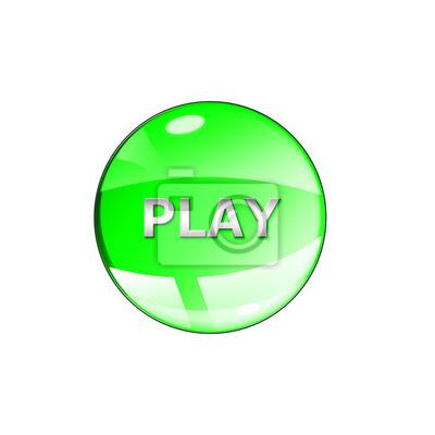 Zagraj w ikonę na błyszczącym zielonym przyciskiem okrągłym