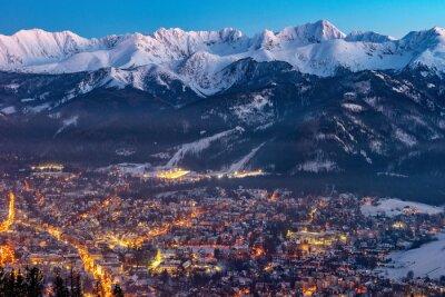 Plakat Zakopane nocą, góry Tatry, Polska, Europa