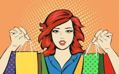 Plakat Zakupy kobieta z worka zniżki sprzedaży pop art retro styl.