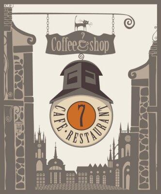 Plakat zaloguj kawiarni na Starym Mieście