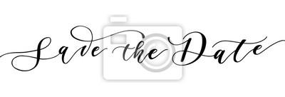 Plakat Zapisz datę kaligrafii. Ręcznie rysowane napis na zaproszenia ślubne na białym tle. Ilustracji wektorowych.